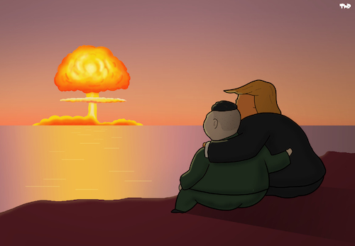 Cartoon: Bromance (medium) by Tjeerd Royaards tagged trump,kim,jong,un,north,korea,usa,meeting,nuclear,explosion,friends,romance,trump,kim,jong,un,north,korea,usa,meeting,nuclear,explosion,friends,romance