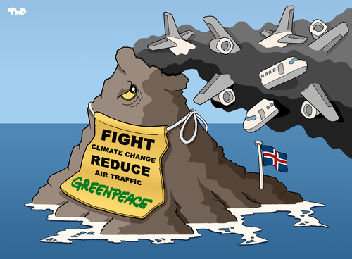Cartoon: Greenpeace dream come true... (medium) by Tjeerd Royaards tagged greenpeace,iceland,volcano,eruption,airplane,air,airport,traffic,flight,climate,change,vulkan,asche,ausbruch,klimawandel,flugzeug,flugsicherheit,greenpeace
