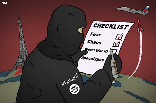 Cartoon: ISIS to do list (medium) by Tjeerd Royaards tagged is,isis,daesh,paris,russia,csyria,turkey,jet,is,isis,daesh,paris,russia,csyria,turkey,jet