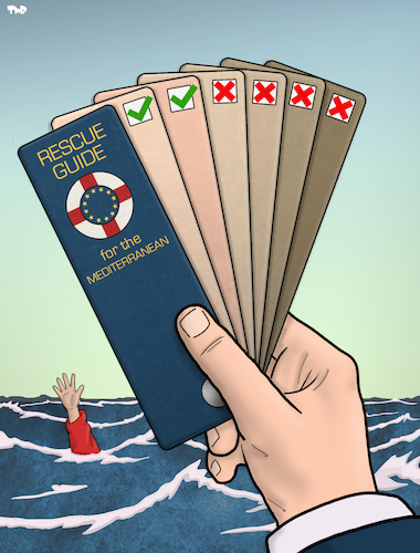 Cartoon: Mediterranean Rescue Guide (medium) by Tjeerd Royaards tagged rescue,migrants,drowning,crime,law,illegal,rescue,migrants,drowning,crime,law,illegal
