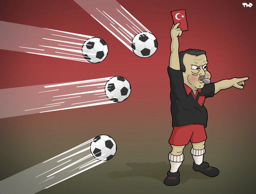 Cartoon: No Control (medium) by Tjeerd Royaards tagged erdogan,turkey,istanbul,ankara,protests,gezi,taksim,football,referee,erdogan,turkey,istanbul,ankara,protests,gezi,taksim,football,referee
