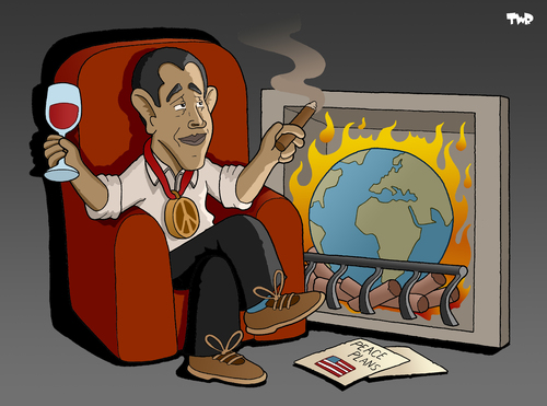 Cartoon: Obama wins Nobel Prize (medium) by Tjeerd Royaards tagged obama,nobel,peace,prize,world,burning,hope,change,usa,america,president,barack obama,usa,präsident,nobelpreis,friedensnobelpreis,auszeichnung,barack,obama