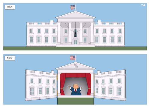 Cartoon: Puppet Show (medium) by Tjeerd Royaards tagged usa,trump,white,house,theater,theathre,puppet,show,usa,trump,white,house,theater,theathre,puppet,show