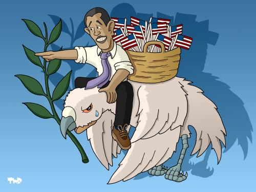 Cartoon: The new  Pax  Americana (medium) by Tjeerd Royaards tagged barack,obama,peace,middle,east,israel,palestine,egypt,united,states,usa,barack obama,präsident,usa,amerika,palästina,israel,krieg,frieden,friedenstaube,barack,obama