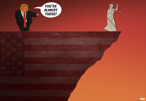 Cartoon: The US Justice System (medium) by Tjeerd Royaards tagged trump,us,court,justice,trump,us,court,justice