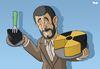 Cartoon: Ahmadinejad strikes a deal (small) by Tjeerd Royaards tagged ahmadinejad,iran,nuclear,weapons,atom,tehran,war,threat,united,nations,turkey,brazil