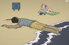 Cartoon: European Beach (small) by Tjeerd Royaards tagged drowning,beach,ship,immigration,eu,europe,immigrants