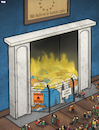Cartoon: Fire in camp Moria (small) by Tjeerd Royaards tagged europe,refugees,human,rights,camp,moria,greece,fire,burning