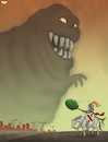Cartoon: Green Fight (small) by Tjeerd Royaards tagged nitrogen,emissions,pollution,tree,green,monster