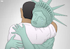 Cartoon: Painful Goodbye (small) by Tjeerd Royaards tagged obama,liberty,statue,hug,bye,end,future,trump