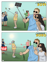 Cartoon: Summer 2020 (small) by Tjeerd Royaards tagged pandemic,coronavirus,selfie,tourism,summer,vacation,holiday