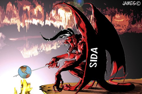 Cartoon: a fuego lento (medium) by JAMEScartoons tagged sida,aids,diablo,demonio,infierno