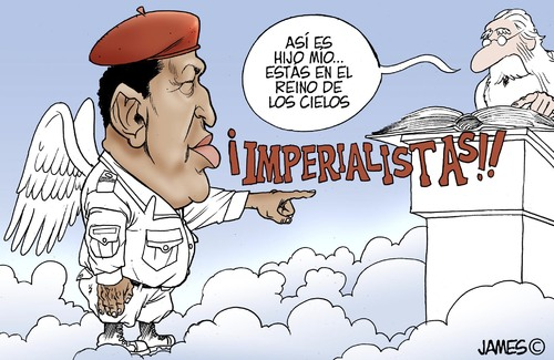 Cartoon: Al estilo chavez (medium) by JAMEScartoons tagged hugo,chavez,cielo,san,pedro,imperialismo