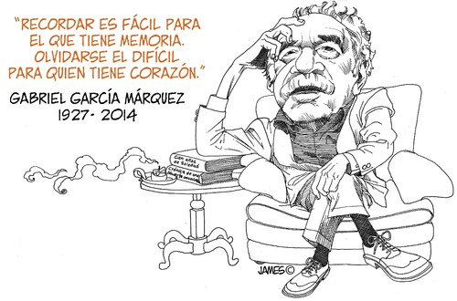 Cartoon: Gabriel Garcia Marquez (medium) by JAMEScartoons tagged gabriel,garcia,marquez,james,jaime,mercado