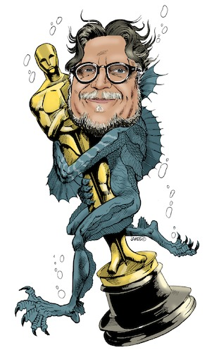 Cartoon: Guillermo del Toro (medium) by JAMEScartoons tagged guillermo,del,toro,oscar