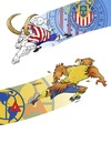 Cartoon: Aguilas Vs Chivas (small) by JAMEScartoons tagged aguilas,chivas,america,guadalajara,futbol,soccer