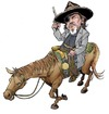 Cartoon: True grit (small) by JAMEScartoons tagged jeff,bridges,true,grit,cowboy,vaquero