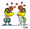 Cartoon: FIGHT GREECE VS SERBIA BASQUET (small) by QUEL tagged fight greece vs serbia basquet friendly game