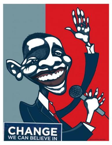 Cartoon: Obama for president (medium) by pincho tagged caricaturas,caricature,obama,presidente