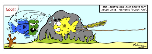 Cartoon: Chris the Fish (medium) by Gopher-It Comics tagged gopherit,ambrose,christhefish,fish,poop