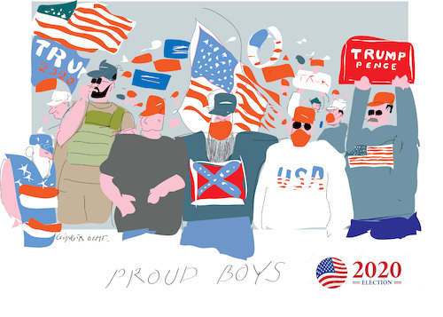 Cartoon: Proud Boys (medium) by gungor tagged us,election,2020,us,election,2020