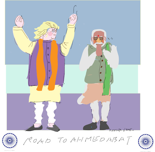 Cartoon: Road to Ahmedabad (medium) by gungor tagged usa,usa