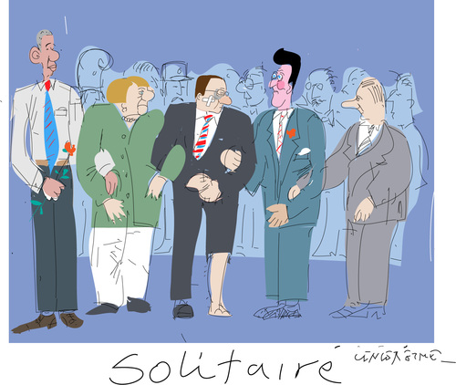 Cartoon: solitaire (medium) by gungor tagged france