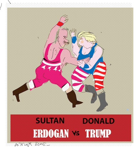Cartoon: Sultan versus Trump (medium) by gungor tagged turkey,turkey,türkei,usa,trump,erdogan