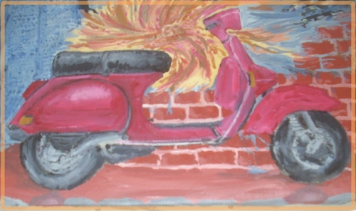 Cartoon: Vespa paint in oil (medium) by freakyfrank tagged t5,px,vespa,liebe,grün,spanien,eifersucht