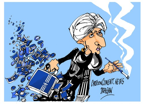 Cartoon: Christine Lagarde-Adidas (medium) by Dragan tagged christine,lagarde,fondo,monetario,internacional,fmi,adidas,politics,cartoon