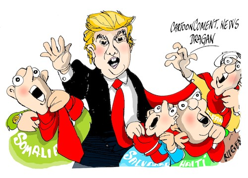 Cartoon: Donald Trump-paises de mierda (medium) by Dragan tagged donald,trump,eeuu