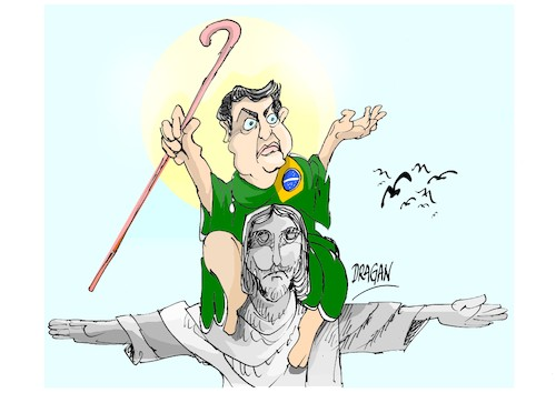 Cartoon: Jair Bolsonaro-Mesias (medium) by Dragan tagged jair,bolsonaro,mesias,brazil