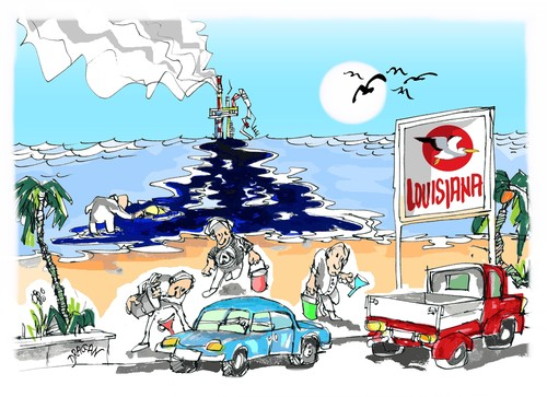 Cartoon: Louisiana (medium) by Dragan tagged lousiana,golfo,de,mexico,plataforma,petrolera,florida,alabama,deepwater,horizon,naturaleza,cartoon