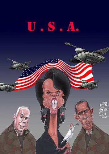 Cartoon: USA (medium) by Marian Avramescu tagged rice,obama,mcain