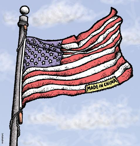 Cartoon: Made in China (medium) by svitalsky tagged flag,american,usa,china,svitalsky,svitalskybros,amerika,usa,fahne,flagge,stolz,china,herstellung,handel,verkauf