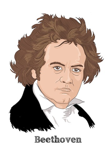 Cartoon: Beethoven (medium) by Vandersart tagged beethoven,music,composer