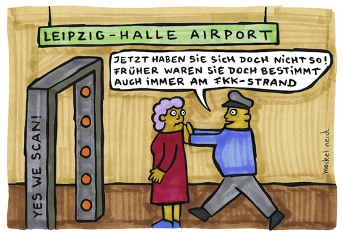 Cartoon: fkk-scanner (medium) by meikel neid tagged nacktscanner,bodyscanner,scanner,flughafen,sicherheit,fkk