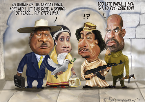 Cartoon: African Union meets Gadaffi (medium) by Fred Makubuya tagged war,peace,libya,gadaffi,museveni