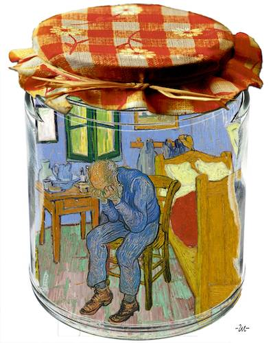 Cartoon: Compote (medium) by zu tagged compote,gogh,room,chair,bed