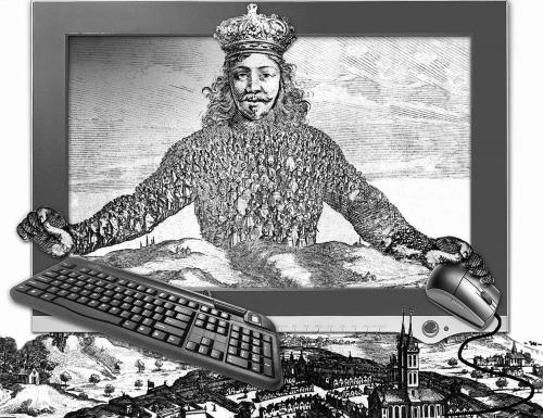 recreación del motivo de la portada del Leviathan, de T. Hobbes