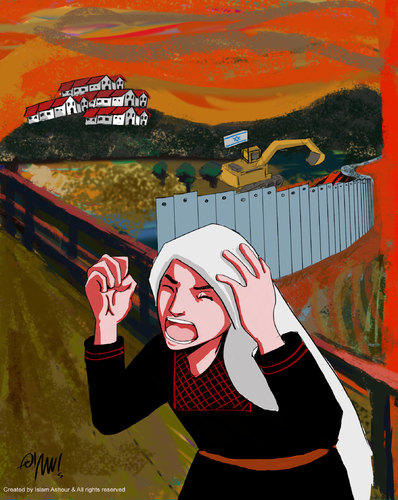 Cartoon: Palestinian Scream (medium) by islamashour tagged palestine,activism,army,israelis,occupation,calcartoonist,politi,israel,bank,west,palestinian,soldiers,settlements,israeli,women,scream,palestinianthe