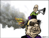 Cartoon: Gaddafi and son (small) by jeander tagged gadaffi,gaddafi,khaddaffi,libya,democracy,revolution,terror