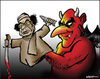 Cartoon: The devils partner (small) by jeander tagged gadaffi,khadaffi,libya,dictator,gaddafi