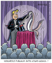 Cartoon: spannung (small) by pentrick tagged zaubern zauberer magician show spannend exciting geduld patience kaninchen rabbit gerd bökesch cartoon showbusiness bühne stage entertainment unterhaltung zuschauer tank comics tankcomics