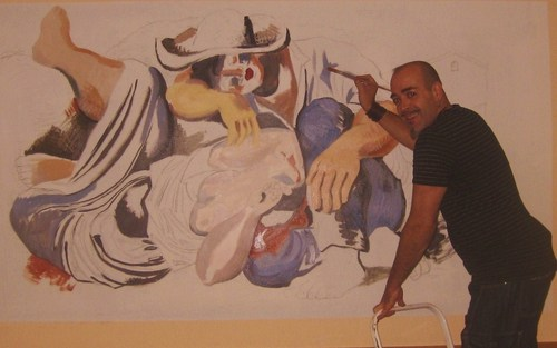 Cartoon: PAINTIN AND ENJOIN (medium) by GOYET tagged picasso,fresh,murales,oleo