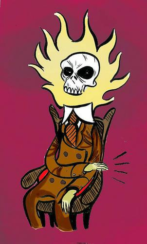 Cartoon: PROFESSOR SKULL (medium) by Jorge Fornes tagged ilustration