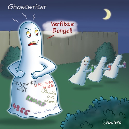 Cartoon: Ghostwriter (medium) by neufred tagged geist,ghost,ghostwriter,graffitti,nacht,mond,mondschein,schmierereien,schimpfen,fluchen
