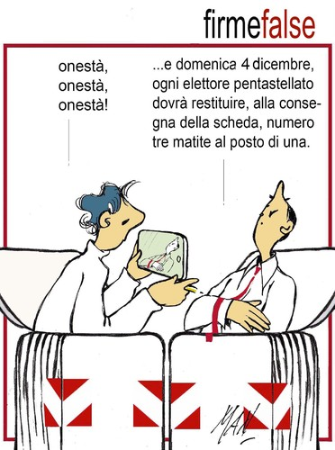 Cartoon: firme false (medium) by Enzo Maneglia Man tagged cassonettari,referendum,vignette,maneglia,man,fighillearte