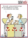 Cartoon: tablet estivi (small) by Enzo Maneglia Man tagged cassonettari,man,maneglia,fighillearte,vu,compr