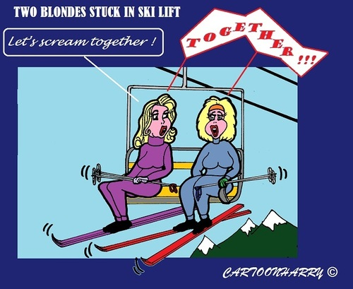 Cartoon: Blond and SkiLift (medium) by cartoonharry tagged weather,winter,snow,ski,lift,blond,together,stuck,cartoonharry